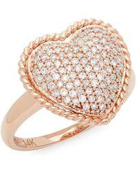 Effy - Diamond & 14k Rose Gold Heart Ring - Lyst