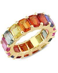 Saks Fifth Avenue Women's 14k Yellow Gold & Multicolored Sapphire Eternity Ring/size 6 - Size 6 - Metallic