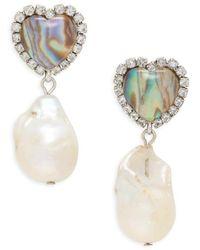 DANNIJO Women's Zahia Silverplated, 19mm Freshwater Baroque Pearl, Resin Stone & Glass Crystal Earrings - Multicolour