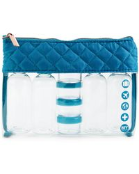 MYTAGALONGS Coco Quilted Pouch & Travel Container Set - Blue