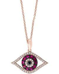 Effy 14k Rose Gold Pink Ruby, Black & White Diamond Evil Eye Pendant Necklace