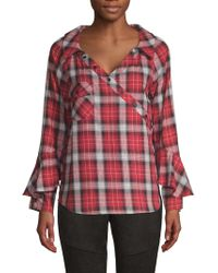 Laundry by Shelli Segal - Plaid Wrap-button Ruffle-sleeve Blouse - Lyst