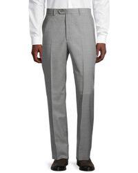 Santorelli Sharkskin Stretch-virgin Wool Dress Trousers - Grey