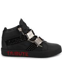Giuseppe Zanotti Michael Jackson Tribute Embellished Leather Mid-top Sneakers - Black