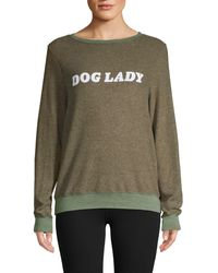 Wildfox Dog Lady Slogan Sweatshirt - Green