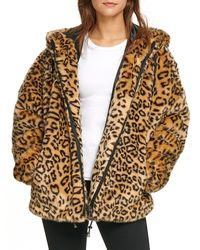 DKNY Leopard Faux Fur Jacket - Brown