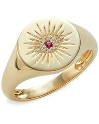 Saks Fifth Avenue 14k Yellow Gold, Ruby & Diamond Evil Eye Ring/size 7 - Red