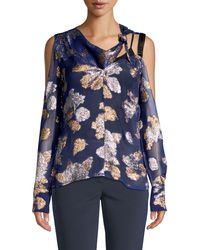 Yigal Azrouël Cold Shoulder Scarf Blouse - Blue