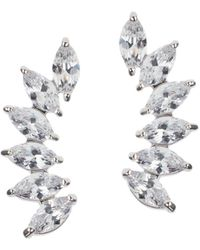CZ by Kenneth Jay Lane Look Of Real Rhodium-plated & Marquise Crystal Earrings - Multicolor