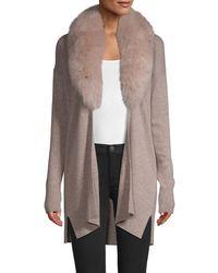 Sofia Cashmere Fox Fur Collar Cashmere Topper - Multicolor