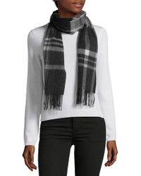 Saks Fifth Avenue Black - Cashmere Plaid Fringe Scarf - Lyst