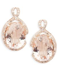 Effy 14k Rose Gold Morganite & Diamond Oval Drop Earrings - Multicolour