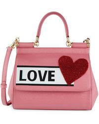 Dolce & Gabbana Love Print Leather Satchel - Pink