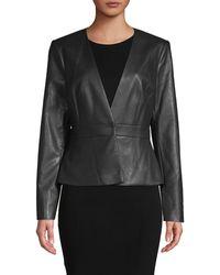 BCBGMAXAZRIA V-neck Faux Leather Jacket - Black