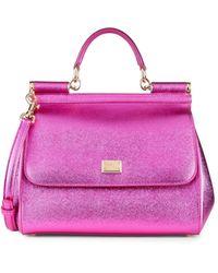 Dolce & Gabbana Metallic Leather Satchel - Pink