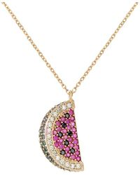 Gabi Rielle Women's Watermelon Green, Black, White & Ruby Crystal Pendant Necklace