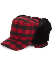 Surell - Faux Fur Trimmed Check Fudd Hat - Lyst