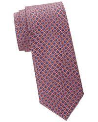 Saks Fifth Avenue Men's Textured Print Silk Tie - Blue Pink