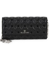 Valentino By Mario Valentino Cesare Quilted & Studded Wallet On A Chain - Black