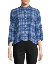 Plenty by Tracy Reese - Plaid Bell-sleeve Button-down Shirt - Lyst