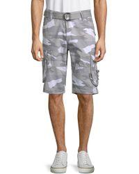 Xray Jeans Camo-printed Cotton Shorts - Grey