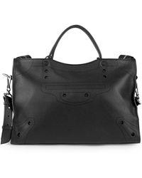 Balenciaga Blackout City Leather Satchel