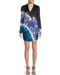 Young Fabulous & Broke Women's Tie-dyed Wrap Blazer Dress - Black - Size M