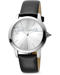 Just Cavalli - Women's Stainless Steel, Crystal & Leather-strap Watch - Lyst