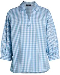Karl Lagerfeld Puff-sleeve Gingham Shirt - Blue