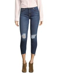 7 For All Mankind - Distressed Step-hem Ankle Skinny Jeans - Lyst