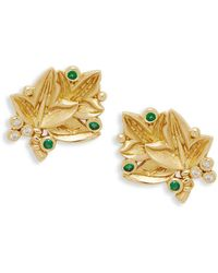 Temple St. Clair - 18k Yellow Gold, Diamond & Emerald Leaf Stud Earrings - Lyst