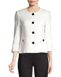 Karl Lagerfeld Short Tweed Jacket - White
