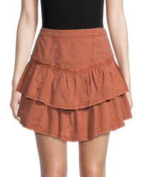 Free People Women's Ruffles In The Sand Tiered Denim Skirt - Orange - Size 8