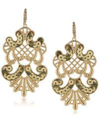 ABS By Allen Schwartz Somewhere To Be Sequined Goldtone Drop Earrings - Metallic
