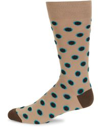 Saks Fifth Avenue Dotted Cotton-blend Socks - Brown
