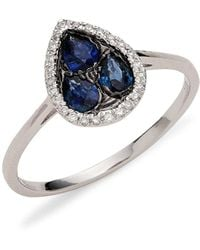Saks Fifth Avenue - 14k White Gold, Sapphire & Diamond Teardrop Ring/size 7 - Size 7 - Lyst