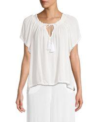 Tessora Women's Talia Coverup Top - Coconut - Size S - White
