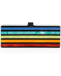 Edie Parker Flavia Striped Acrylic Clutch - Multicolour