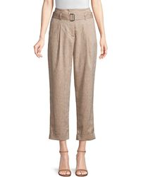 Peserico Cropped Wool & Linen Pants - Natural