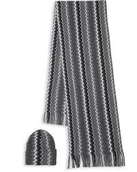 Missoni Wavy Knit Hat & Scarf Gift Set - Black