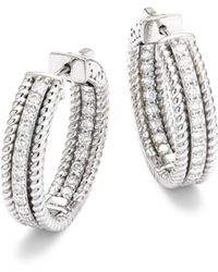Saks Fifth Avenue - Diamond & 14k White Gold Hoop Earrings - Lyst