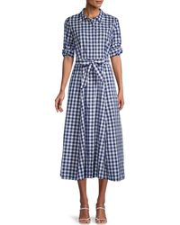 Calvin Klein Chequered Cotton-blend Shirtdress - Blue