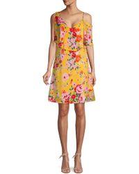 Ava & Aiden Asymmetric Floral Popover Dress - Yellow