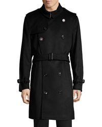 Burberry Kensington Double-breast Wool & Cashmere Trench Coat - Black