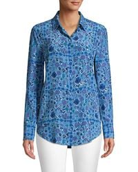 Equipment Essential Floral Silk Shirt - Blue