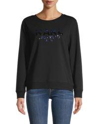 Karl Lagerfeld Embellished Logo Cotton-blend Sweatshirt - Black