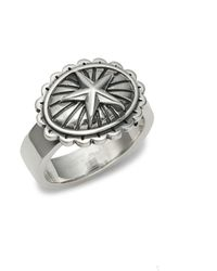 King Baby Studio Sterling Silver Star Concho Ring - Metallic