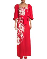 Johanna Ortiz Women's Embroidered Floral Maxi Dress - Imperial Red - Size 0