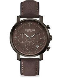 Kenneth Cole Dress Sport Stainless Steel Chronograph Leather-strap Watch - Multicolor