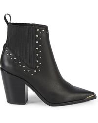 Kenneth Cole Women's Bynona Studded Leather Western Booties - Black - Size 5